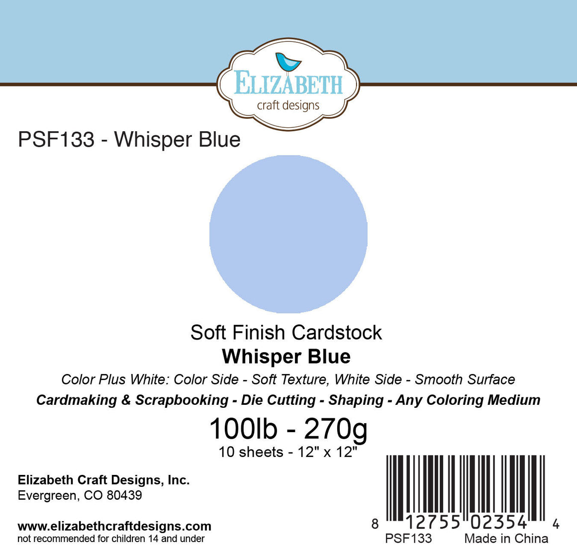 Soft Finish Cardstock, Whisper Blue - Cardstock - ElizabethCraftDesigns.com
