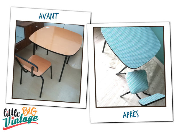 "Table et chaise vintage enfant ""Craboudja"""