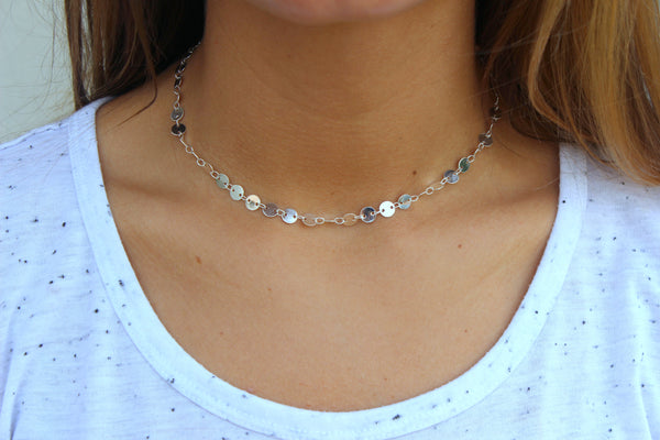 coin choker, minimalist, dainty, layering necklace, made in the usa, boutique in homer glen illinois