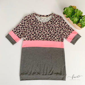 leopard and neon, short sleeve top, made in the usa, online boutique