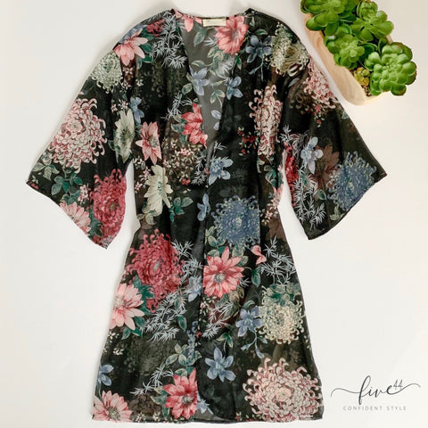 floral black kimono, swimsuit cover up, made in the USA, online boutique