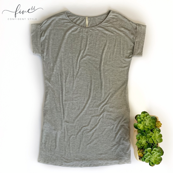 heather grey t-shirt dress, made in the usa, five44 online women's boutique, fast shipping