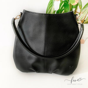 handmade, black, vegan leather handbag with canvas lining, fair trade BYTAVI, online boutique