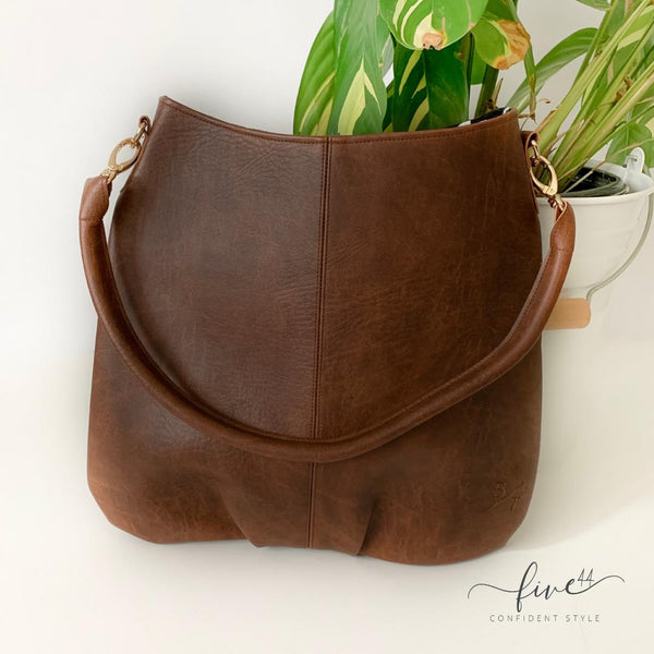 handmade, brown, vegan leather mala handbag with canvas lining, fair trade BYTAVI, online boutique