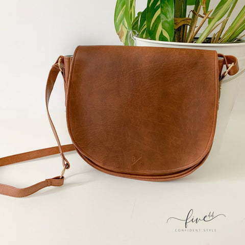 handmade, brown, vegan leather muoy handbag with canvas lining, fair trade BYTAVI, online boutique