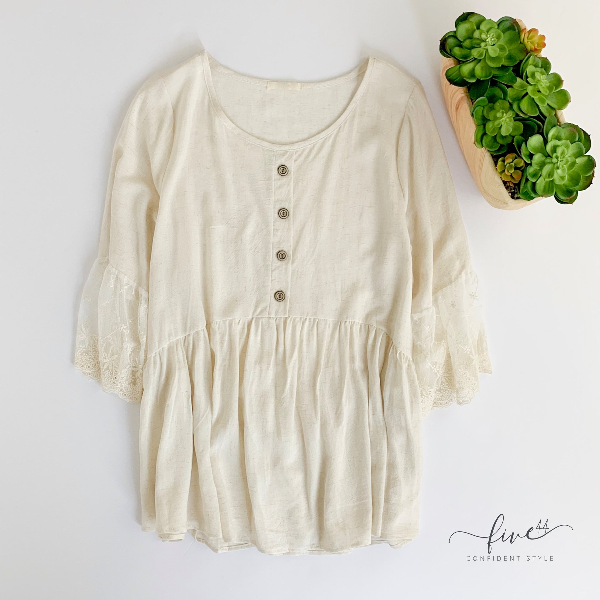 oatmeal lace top, five44 an online women's boutique located just outside of Chicago, Made in the USA