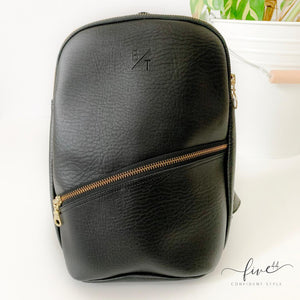 handmade, black, vegan leather panha backpack with canvas lining, fair trade BYTAVI, online boutique