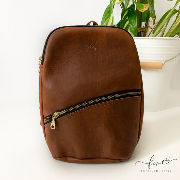 handmade, brown, vegan leather panha backpack with canvas lining, fair trade BYTAVI, online boutique