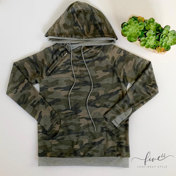 vintage camouflage double hood, zipper detail, made in the USA, online boutique
