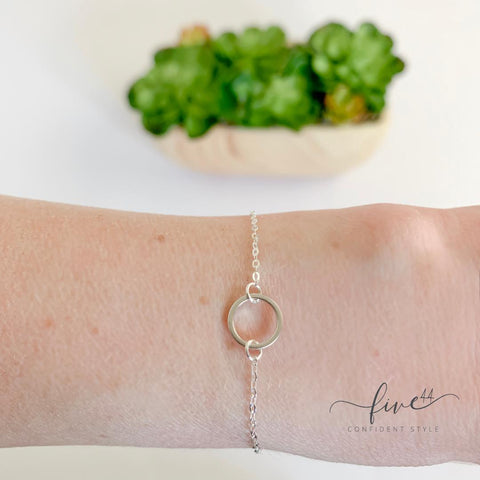silver good karma dainty, minimalist, layering bracelet, made in the usa, handmade, online boutique