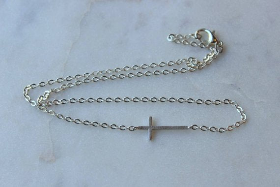 sideways cross necklace, layering necklace, multi strand, minimalist, dainty, silver, online boutique, made in the USA