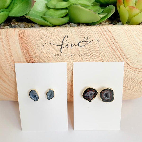 geode earrings, stud earrings, handmade, made in the usa, online boutique