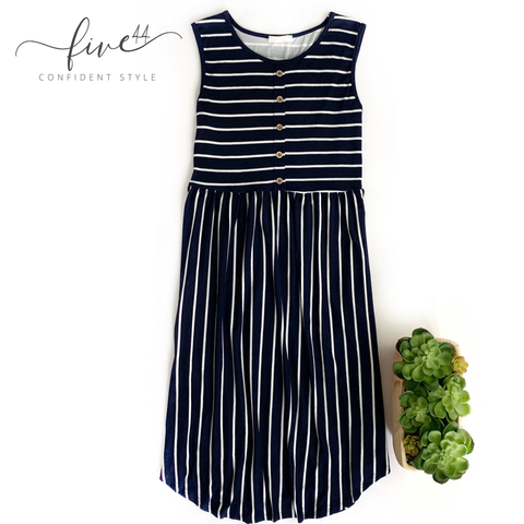 navy striped midi dress, sleeveless, made in the USA, Five44 ships fast, Chicago, online women's boutique