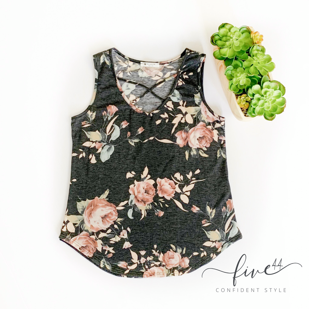 Cross My Heart Tank Top - Charcoal Floral