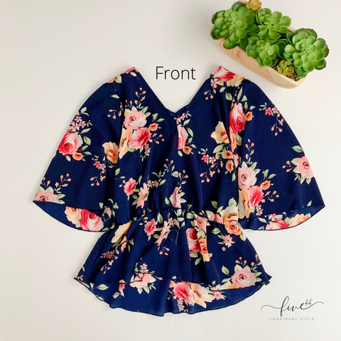 navy floral, wide sleeve, v neck top, blouse, five44, fast shipping, online boutique, chicago,