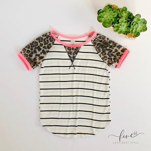 leopard and neon striped short sleeved tee, fuchsia detail at arm and collar, made in the usa, online boutique