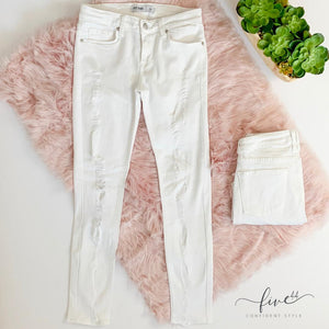 distressed skinny jeans, white denim, white jeans, online boutique, made in the USA