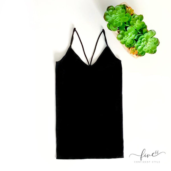 deep v cami, layering black camisole, seamless, made in the usa, online boutique