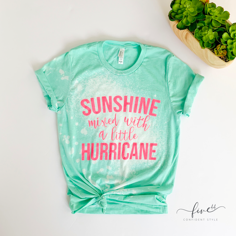 bleached mint bella + canvas tee, neon pink ink sunshine mixed with a little hurricane, five44 online women's boutique located just outside of Chicago