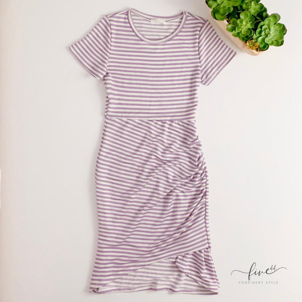 lilac and ivory striped midi dress, short sleeved dress, online boutique,