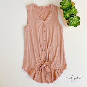 tie front tank top, hi-lo hem, tie front, button up, mauve, boutique just outside of Chicago, Five44