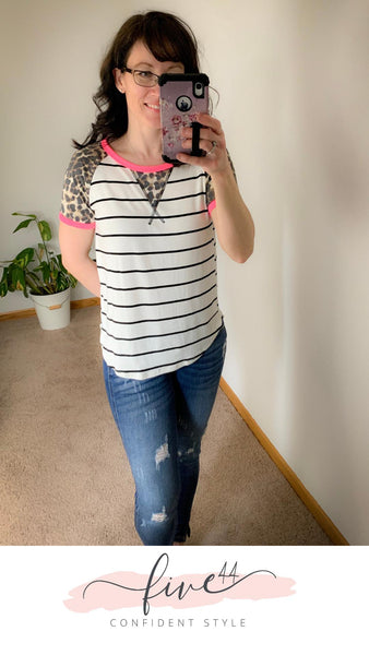 neon and leopard striped tee, fuchsia at the arm and collar, made in the usa, online boutique
