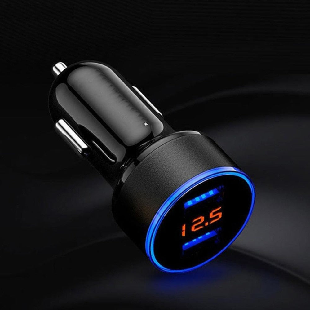 Dual USB Car Charger 2 Ports LCD Display 12-24V Power Adapter. (Multiple Colors)