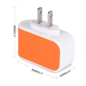 US Plug Wall Charger Station 3 Port USB Charger Travel AC Adapter (Multiple Colors)