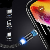 2M/6FT Magnetic Charge Cable , Micro USB Cable For IPhone/USB /Type C Led Cable