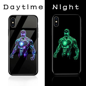 Superhero Luminous Glass Phone Cases for Iphone ..........(Several Different Characters)