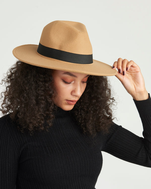 Tan Fedora Felt Hat