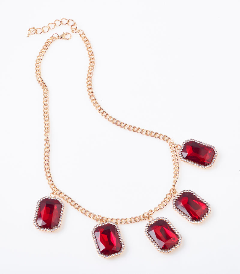 Red Ruby Gem Pendant Necklace