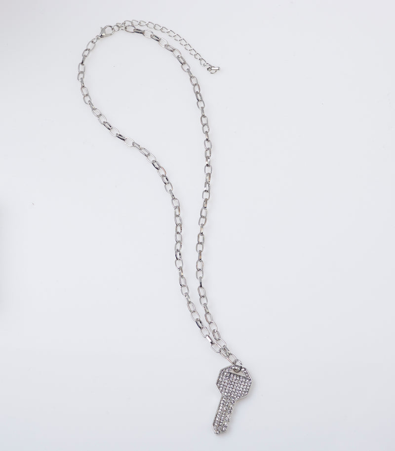 Stela Silver Diamante Embellished Key Necklace