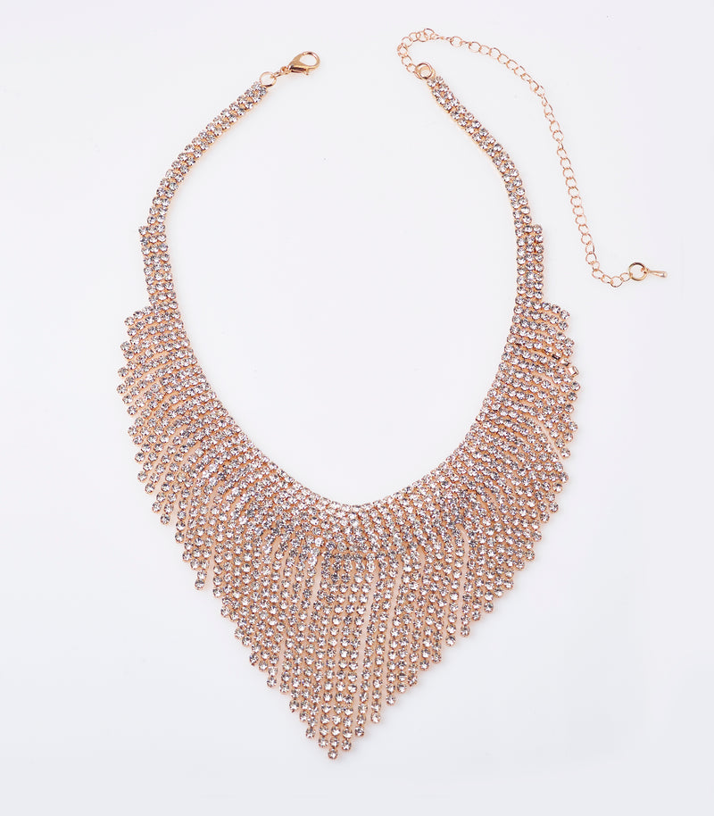 Gold Diamante Drape Necklace