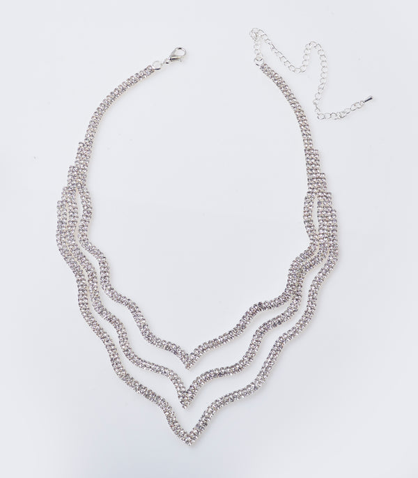 Silver Diamante Layer Necklace