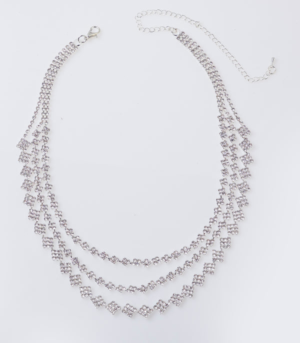 Silver Chunky Diamante Multi Layer Necklace