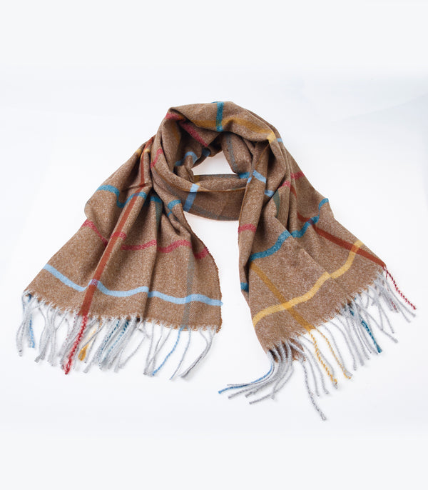 Light Brown Detail Colour Scarf 180cm