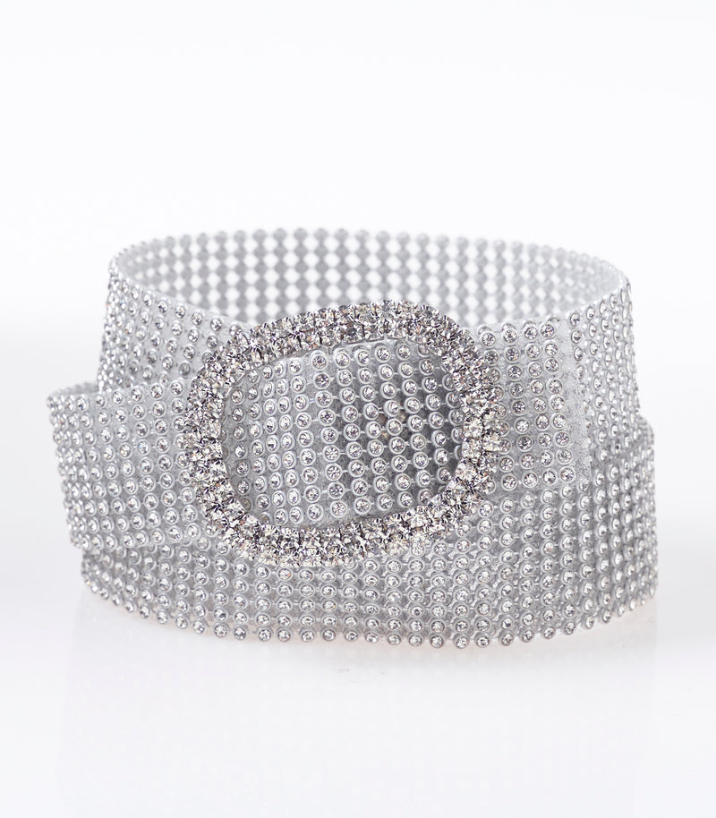 Silver Diamante Skinny Chain Belt
