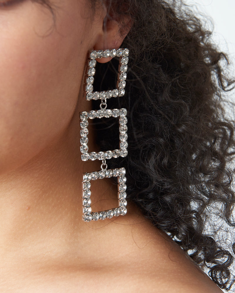 Silver Diamante Link Drop Statement Earrings