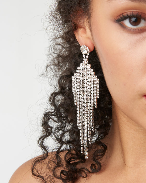 Silver Diamante Tiered Dangle Earrings