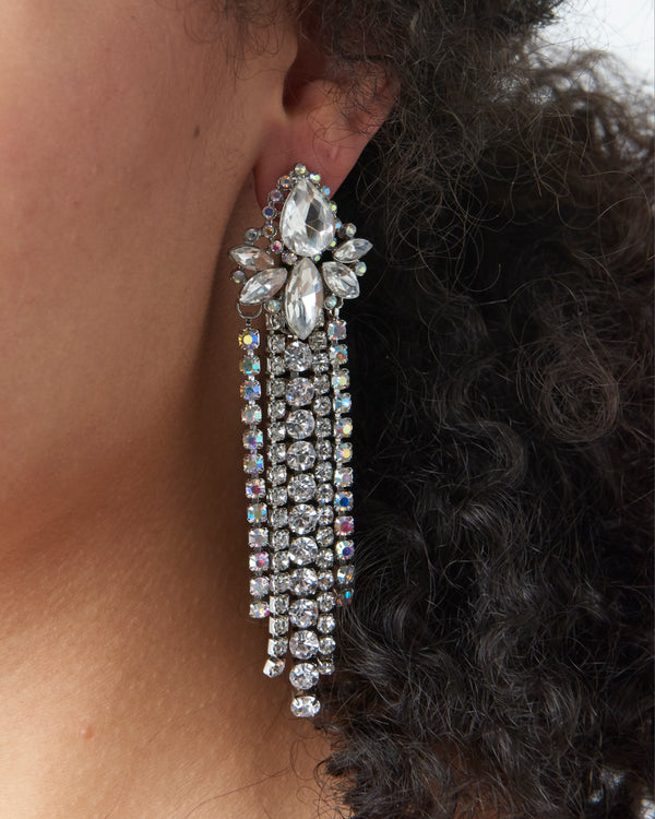 Silver Diamante Dangle Earrings