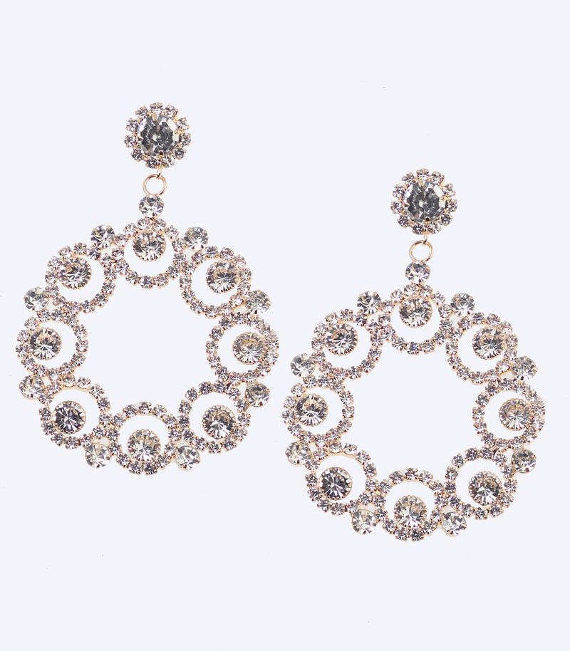 Gold Diamante Jewel Circle Earrings