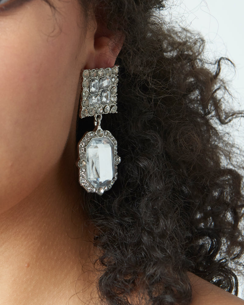 Silver Diamante Drop Ear Cuff Earring