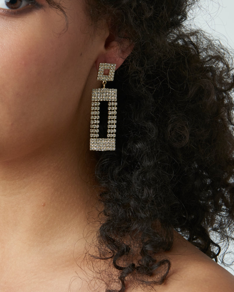Gold Diamante Drop Dangle Earrings