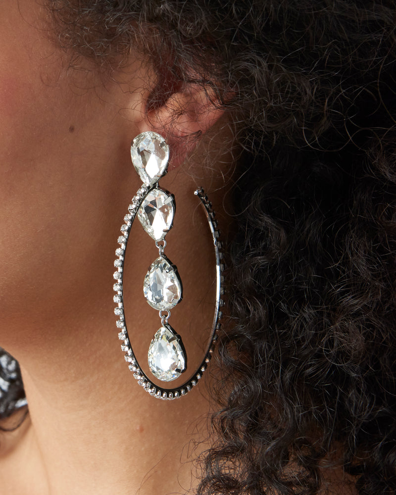 Silver Diamante Hoops With Detail Drops