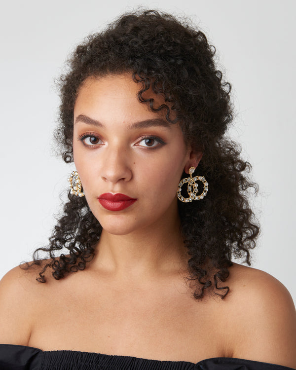 Gold Double Circle Diamante Earrings