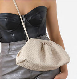 Woven Pouch Cross Body Bag In Nude Colour And Faux Leather