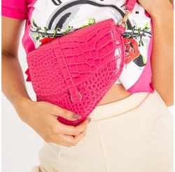 Pink Faux Croc Saddle Bag