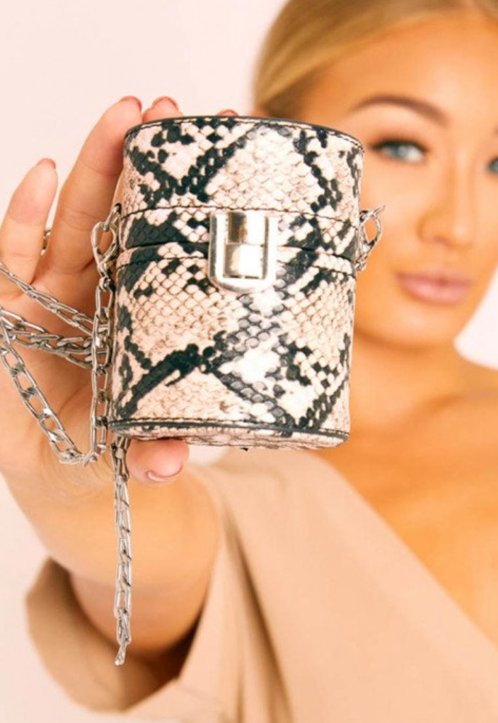 Nude Snake Cylindrical Chain Mini Bag