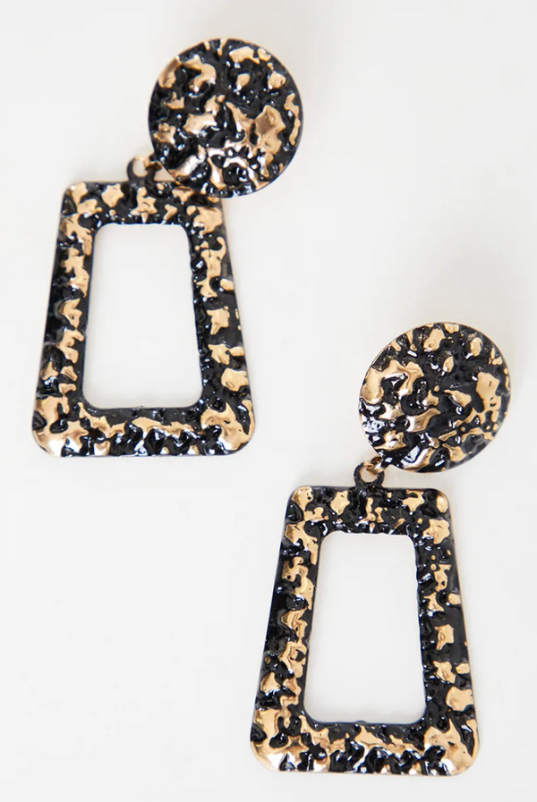 Black And Gold Textured Earrings